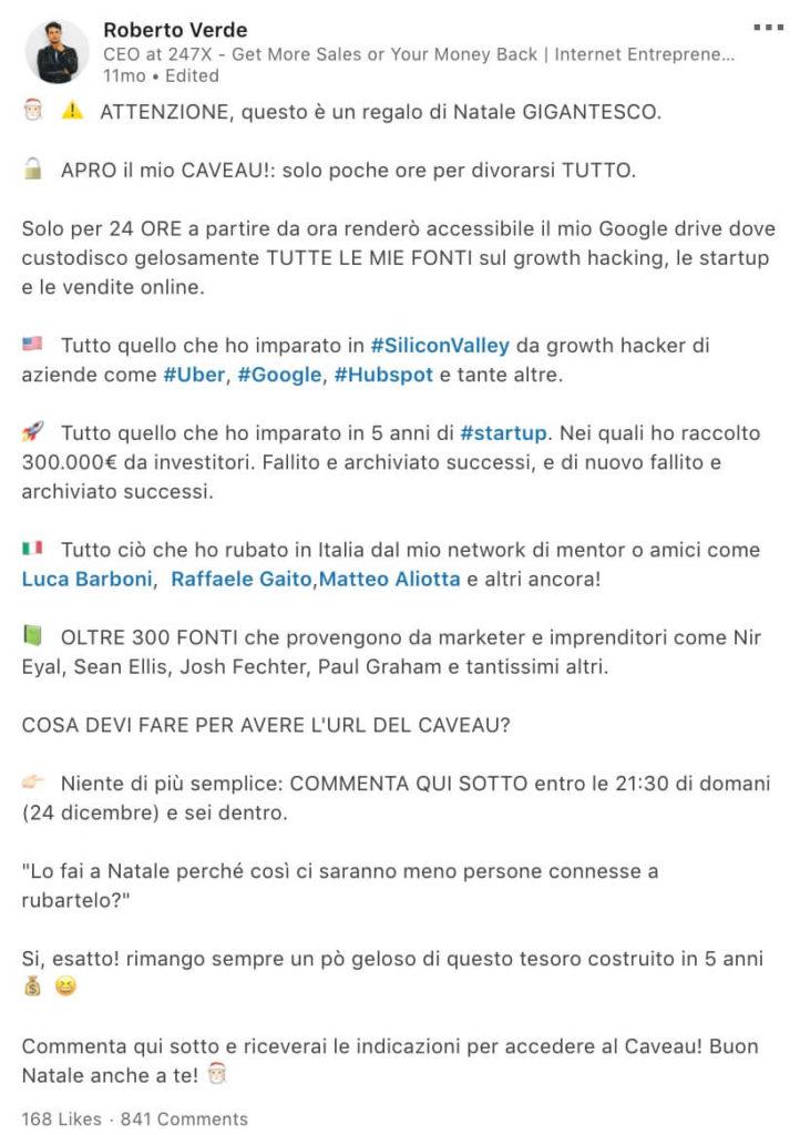 Post LinkedIn Roberto Verde