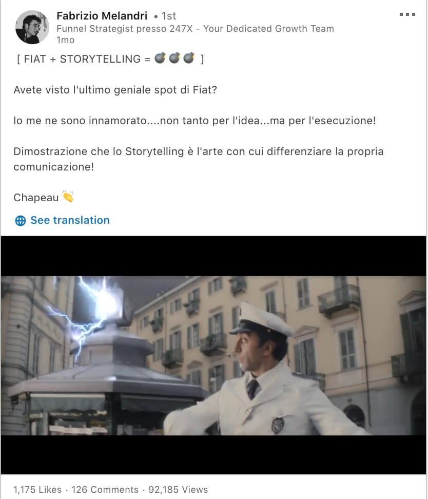 Post LinkedIn Fabrizio Melandri
