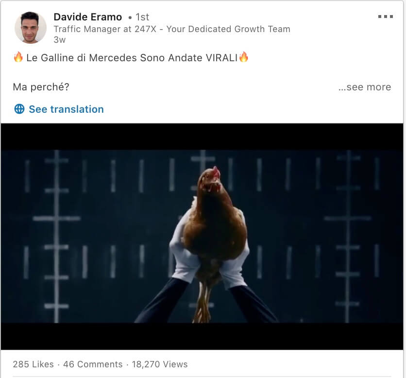 Post LinkedIn Davide Eramo